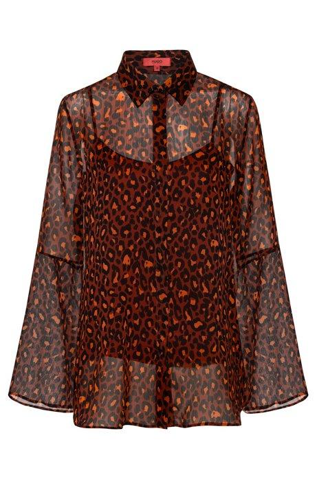 Camicetta in chiffon regular fit con camisole interna, A disegni