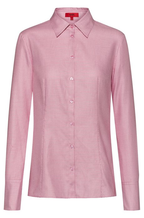 Slim-fit shirt in micro-structured dobby cotton, Patterned
