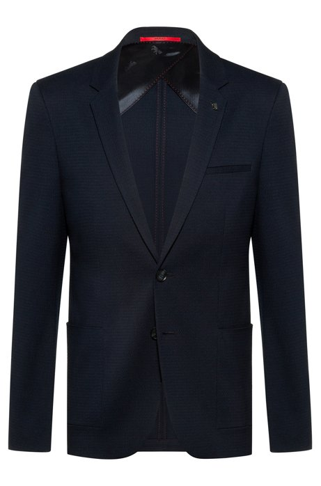 Extra-slim-fit jacket in a cotton blend, Dark Blue