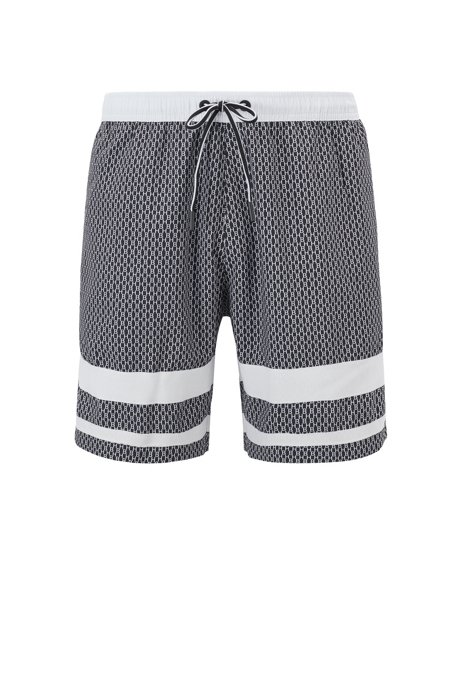 Quick-dry swim shorts with all-over monogram print, Open Grey