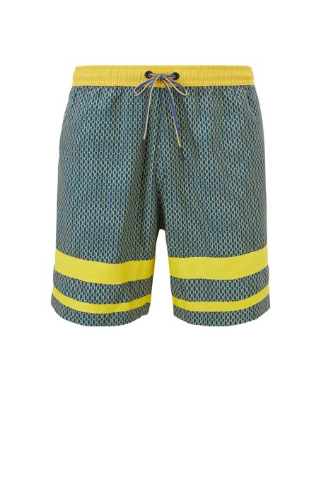 Quick-dry swim shorts with all-over monogram print, Open Blue
