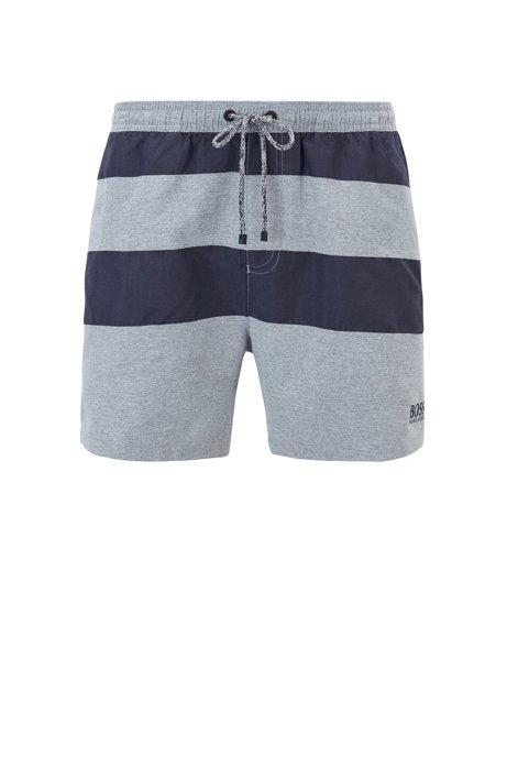 Quick-dry swim shorts with melange block stripes, Open Grey
