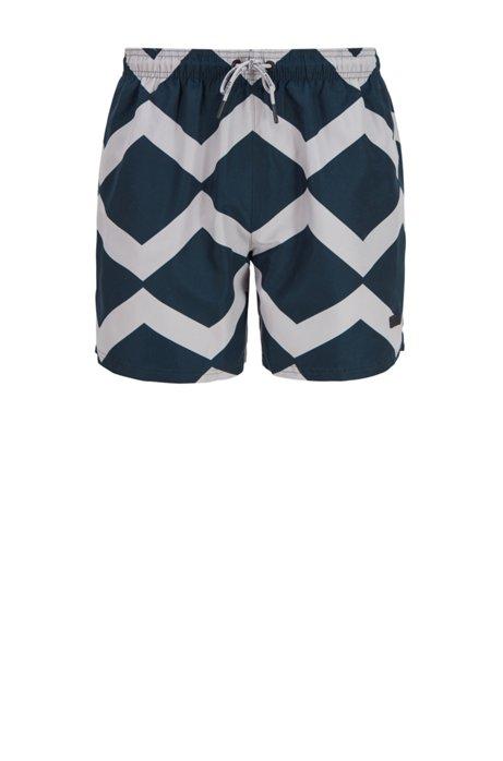 Quick-dry swim shorts with zigzag print, Dark Blue