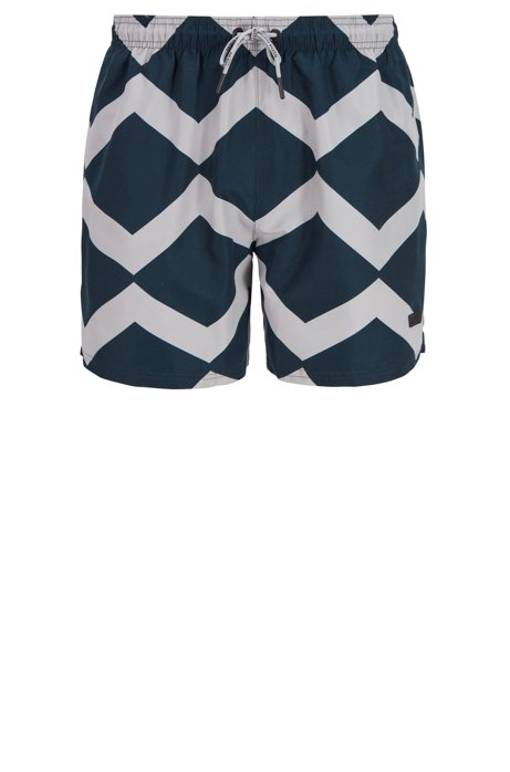 Quick-dry swim shorts with zigzag print, Dark Blue