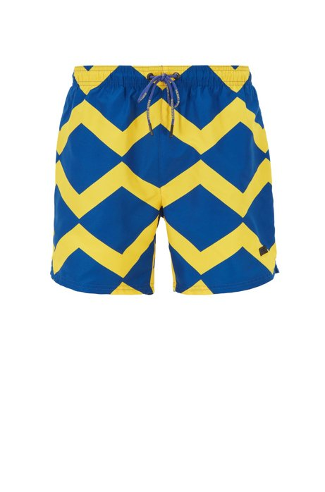 Quick-dry swim shorts with zigzag print, Open Blue