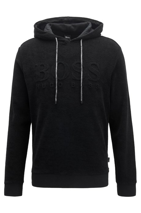 Relaxed-fit hooded beach top with all-over pattern, Black