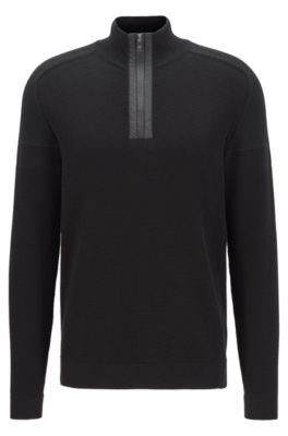 Jersey regular fit en mezcla de algodón orgánico, Negro