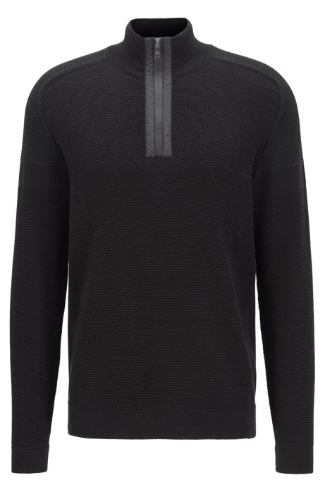 Regular-fit sweater in organic-cotton blend, Black