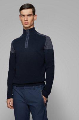 Jersey regular fit en mezcla de algodón orgánico, Azul oscuro