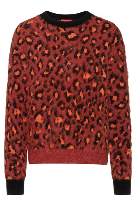 Relaxed-fit cheetah-pattern sweater in wool-blend jacquard, Patterned