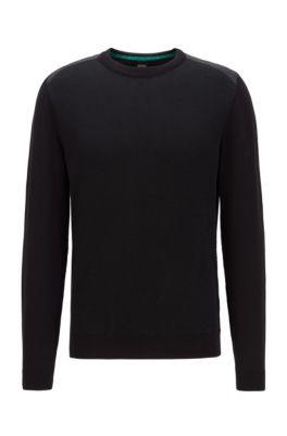 Pullover aus Baumwoll-Mix mit strukturierter Vorderseite, Schwarz