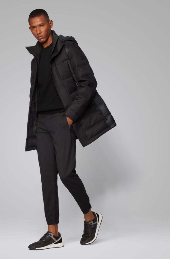 Regular-fit sweater with structured front panel