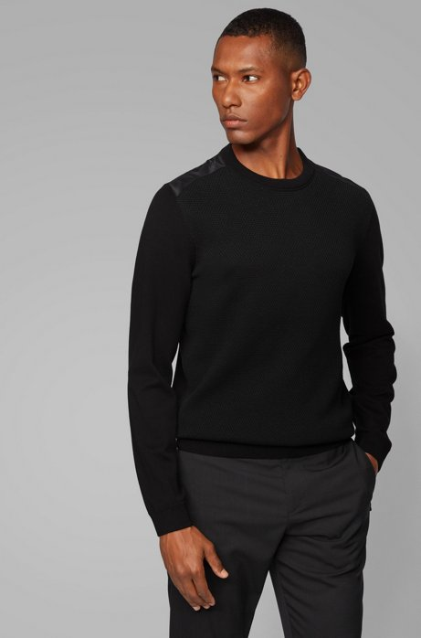 Regular-fit sweater with structured front panel, Black