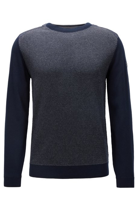 Regular-fit sweater with structured front panel, Dark Blue