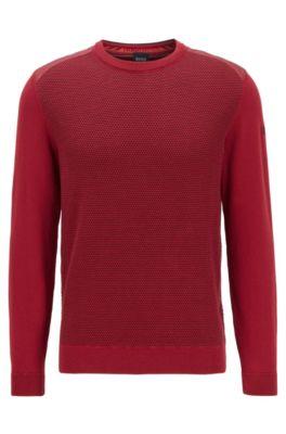 Pullover aus Baumwoll-Mix mit strukturierter Vorderseite, Rot