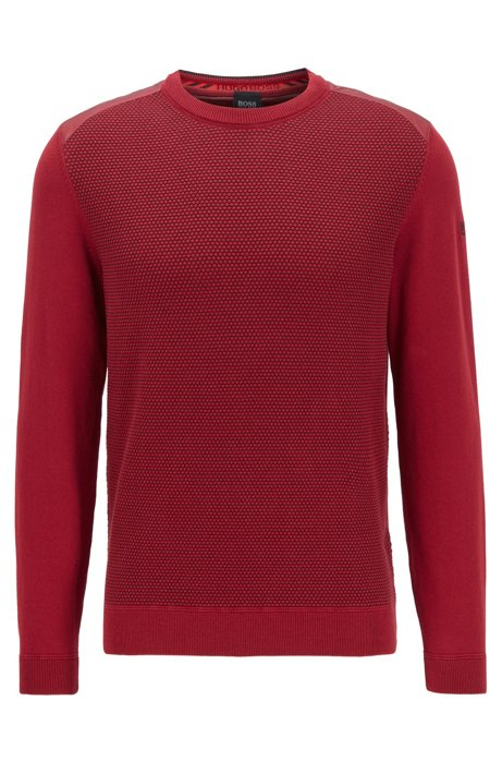 Regular-fit sweater with structured front panel, Red