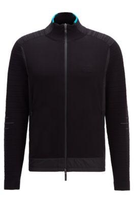 Cárdigan regular fit con forro de malla y aberturas laterales, Negro