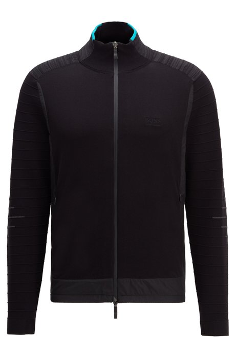Regular-fit cardigan with mesh lining and side vents, Black