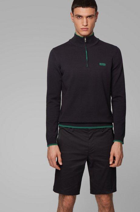 Zip-neck sweater in cotton-blend stretch yarn, Black