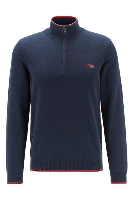 Jersey con cremallera de hilo de mezcla de algodón elástico, Azul oscuro