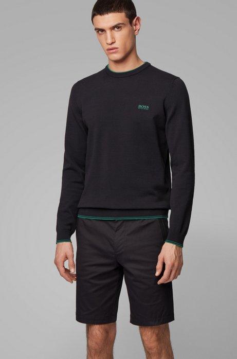 Gebreide trui van gemengde katoengarens met stretch, Zwart