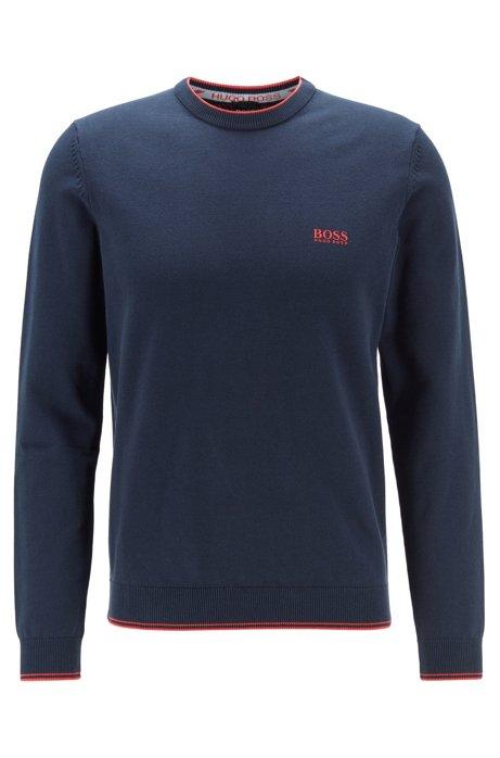 Knitted sweater in cotton-blend stretch yarn, Dark Blue