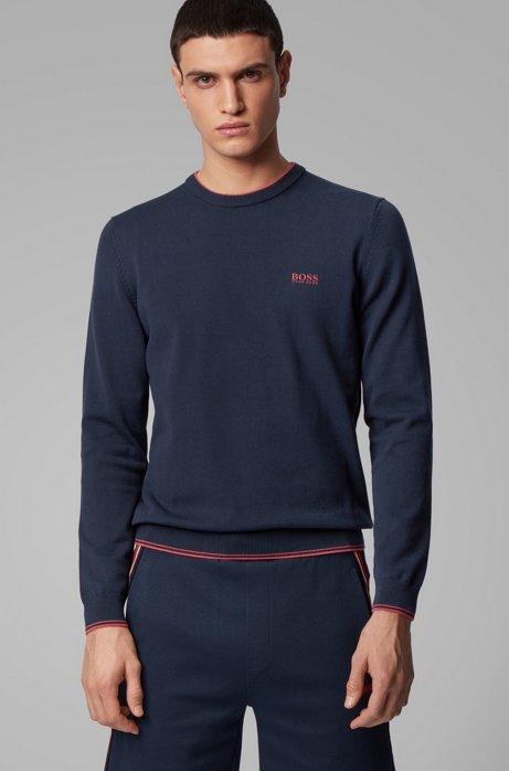 Gebreide trui van gemengde katoengarens met stretch, Donkerblauw