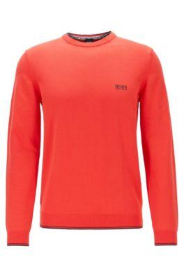 Gebreide trui van gemengde katoengarens met stretch, Rood