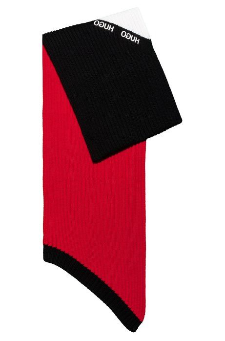 Colour-block scarf in virgin wool with ribbed structure, Red