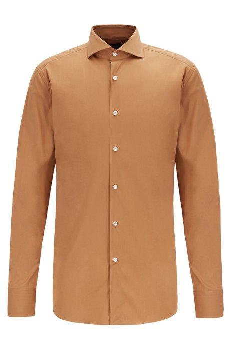 Slim-Fit Hemd aus elastischem Baumwoll-Mix mit Popeline-Struktur, Beige