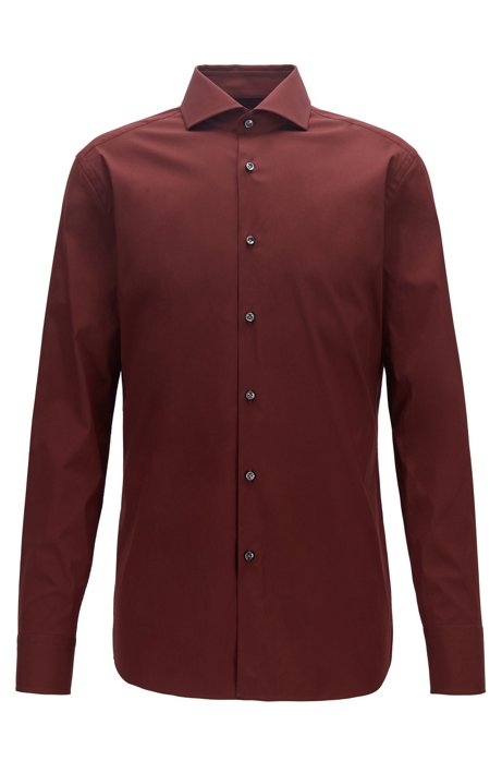 Slim-Fit Hemd aus elastischem Baumwoll-Mix mit Popeline-Struktur, Dunkelrot