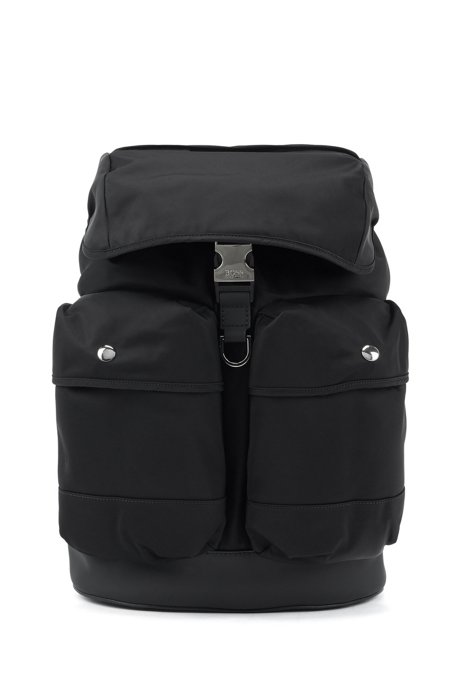 Multi-pocket backpack in nylon gabardine with flap closure, Black