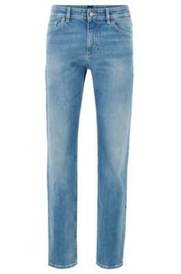 Vaqueros regular fit en denim elástico italiano azul claro, Azul