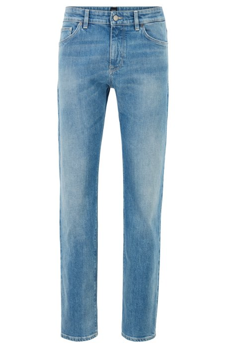 Regular-fit jeans in light-blue Italian stretch denim, Blue