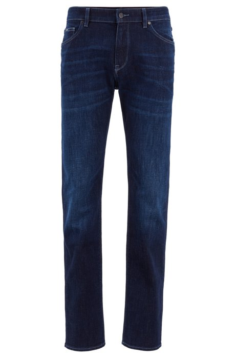 Regular-fit jeans with monogrammed turn-ups, Blue