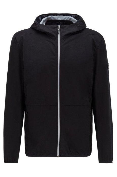 Veste imperméable compacte en laine mérinos bi-stretch, Noir