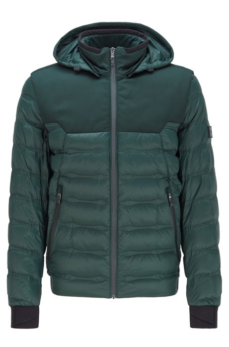 Water-repellent down jacket with detachable hood and sleeves, Green