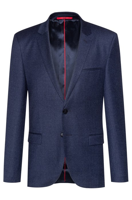 Extra-slim-fit jacket with bear-motif lining, Blue