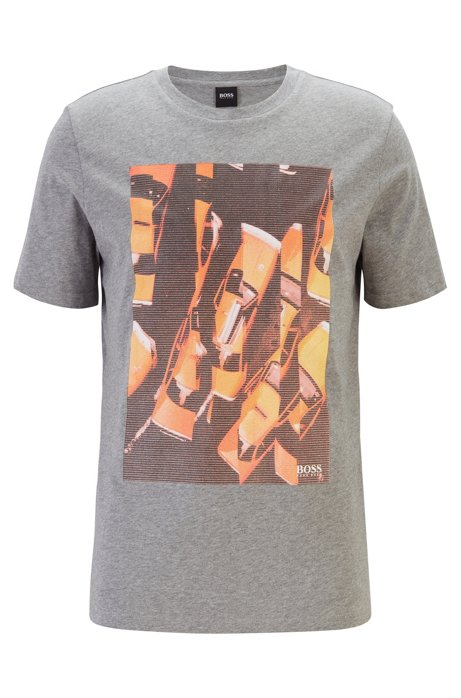 Regular-fit T-shirt in cotton with photographic print, Light Grey