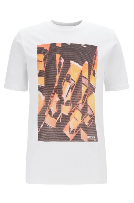 Regular-fit T-shirt in cotton with photographic print, White