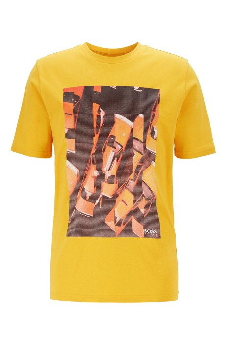 Regular-fit T-shirt in cotton with photographic print, Yellow