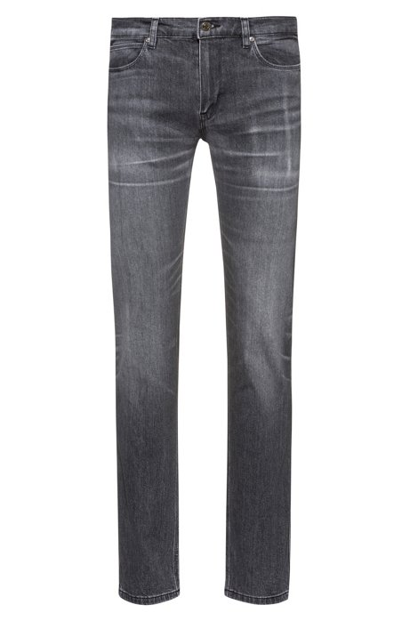 Slim-fit jeans in distressed black stretch denim, Anthracite