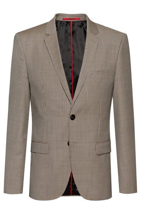 Extra-slim-fit jacket in houndstooth virgin wool, Patterned
