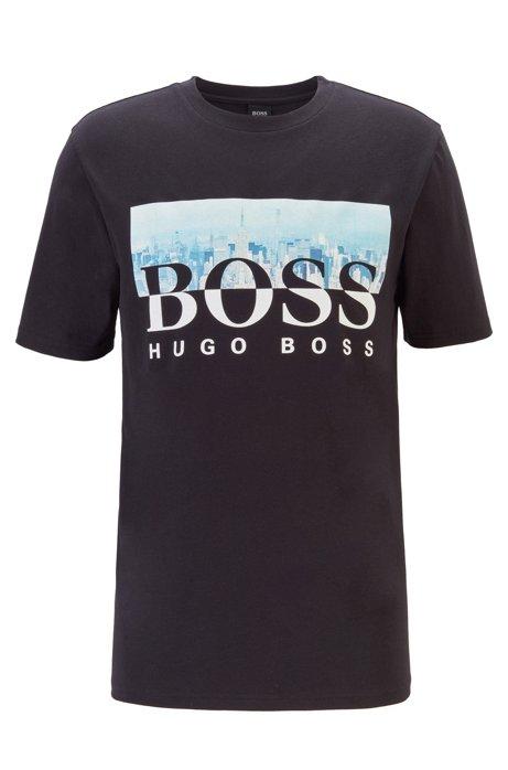T-Shirt aus Baumwolle mit Rundhalsausschnitt und Artwork aus der Kollektion, Schwarz