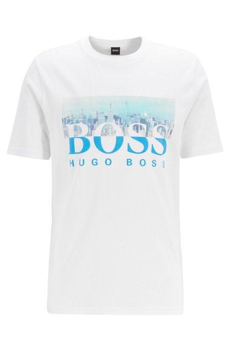 T-Shirt aus Baumwolle mit Rundhalsausschnitt und Artwork aus der Kollektion, Weiß
