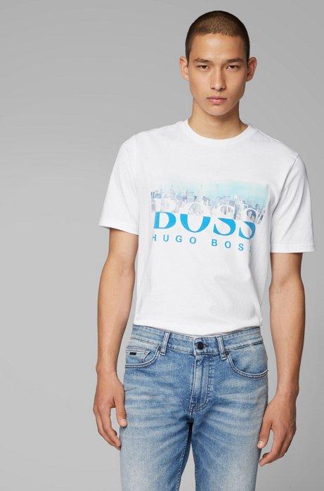 T-shirt à col rond en coton à motif artistique de la collection, Blanc