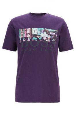 T-Shirt aus Baumwolle mit Rundhalsausschnitt und Artwork aus der Kollektion, Dunkel Lila