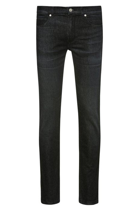 Skinny-fit jeans van mid-washed stretchdenim, Antraciet