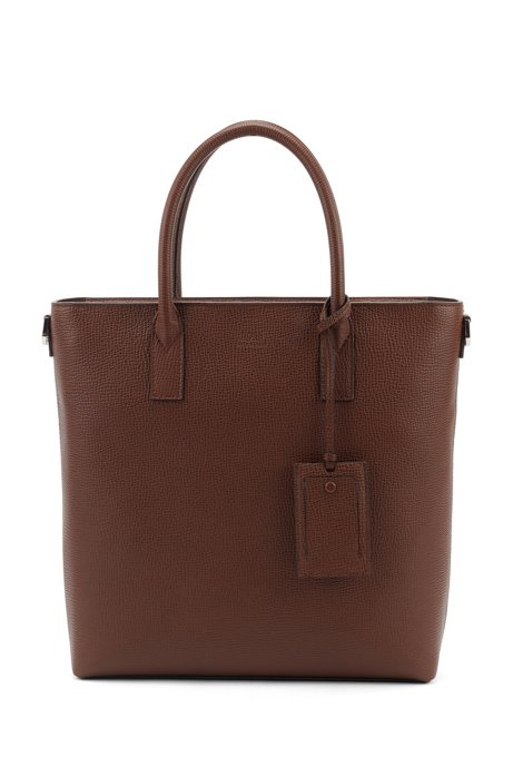 Italian-made tote bag in embossed leather, Brown
