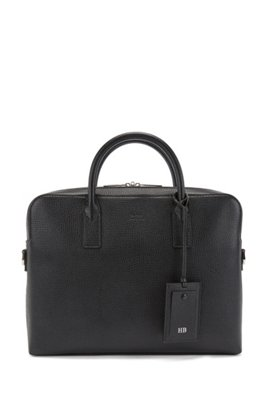 Single document case in embossed Italian leather, Black